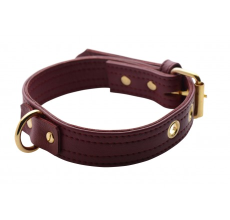 Strict Leather Luxury Burgundy Locking Collar
