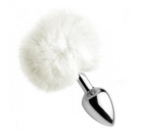 White Fluffy Bunny Tail Anal Plug