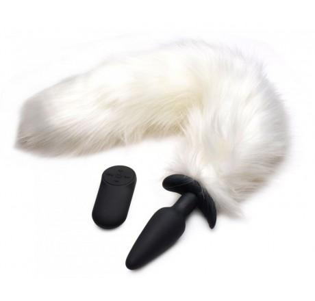 Vibrating White Fox Tail Slender Anal Plug