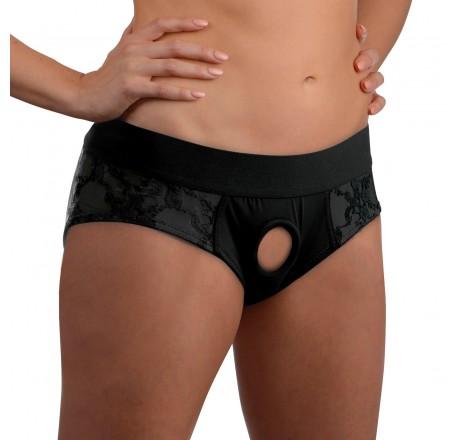 Lace Envy Black Crotchless Panty Harness - L/XL