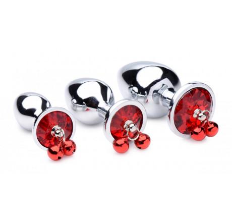 Red Gem with Bells Anal Plug Set
