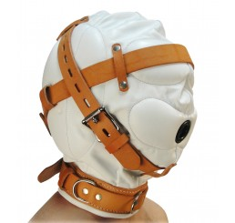 Total Sensory Deprivation White Leather Hood - Medium/Large