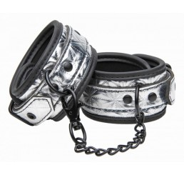 Platinum Bound Cuffed Embossed Metallic Ankle Cuffs