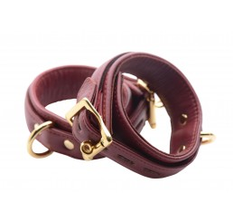 Strict Leather Luxury Burgundy Locking Ankle Cuffs