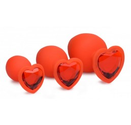 Red Hearts 3 Piece Silicone Anal Plugs with Gem Accents