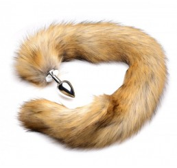 Extra Long Mink Tail Metal Anal Plug- Brown