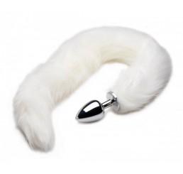 Extra Long Mink Tail Metal Anal Plug- White