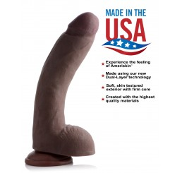 10 Inch Ultra Real Dual Layer Suction Cup Dildo - Dark Skin Tone