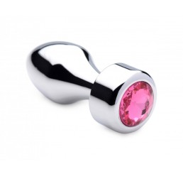 Hot Pink Gem Weighted Anal Plug - Small