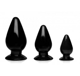 Triple Cones 3 Piece Anal Plug Set - Black