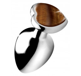 Authentic Tigers Eye Gemstone Heart Anal Plug - Large