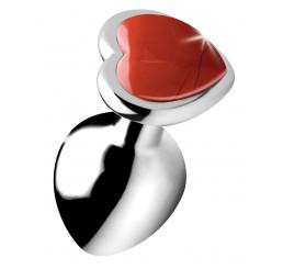 Authentic Red Jasper Gemstone Heart Anal Plug - Medium