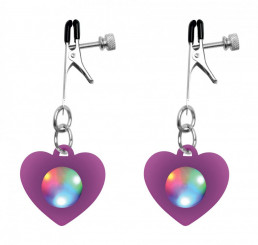 Silicone Light Up Heart Nipple Clamps