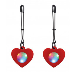 Silicone Light Up Heart Tweezer Nipple Clamps